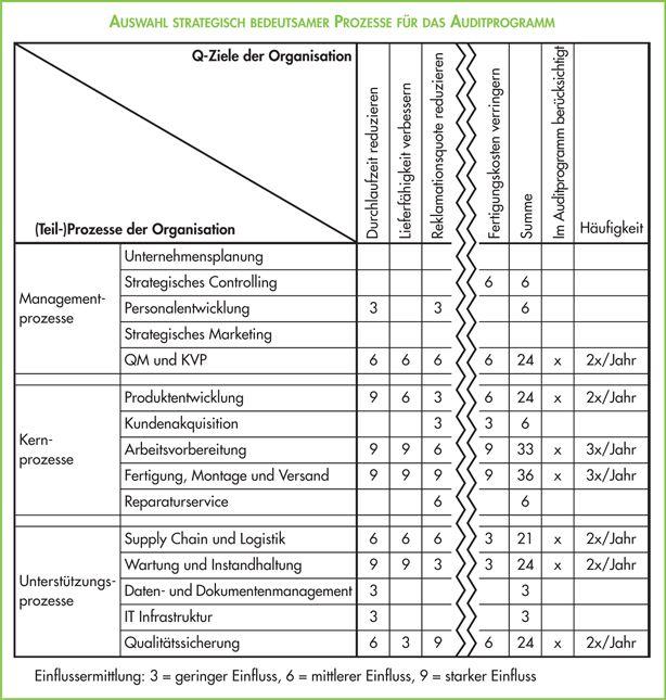 Auswahl strategisch bedeutsamer Prozesse für das Auditprogramm